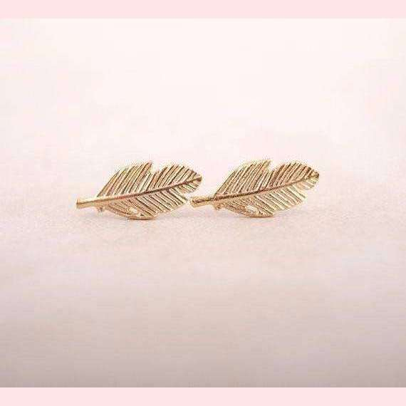 Boho Feather Earrings,Blissful Chic,Gold Color