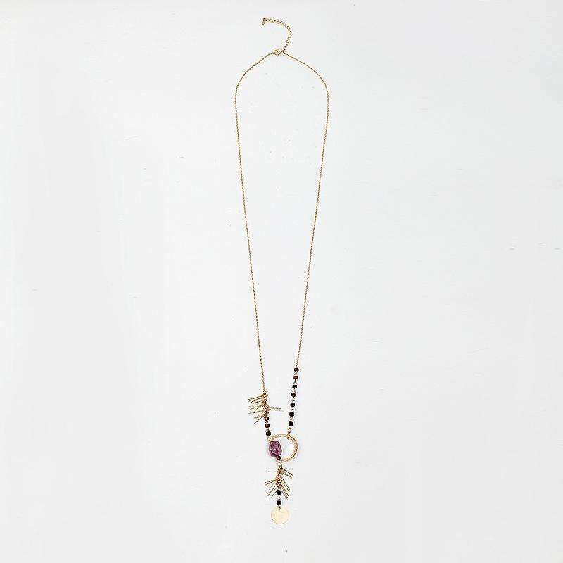 Wood, Stone and Fire Long Necklace,Blissful Chic