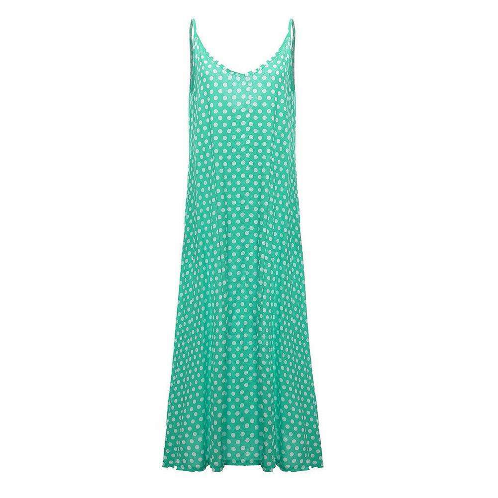 Dotty Maxi Dress,Blissful Chic,Green / XL