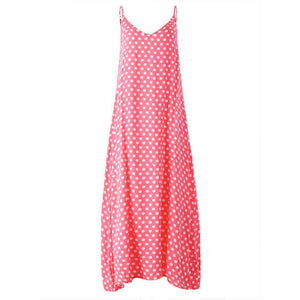 Dotty Maxi Dress,Blissful Chic,Pink / XL