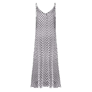 Dotty Maxi Dress,Blissful Chic,White / XL