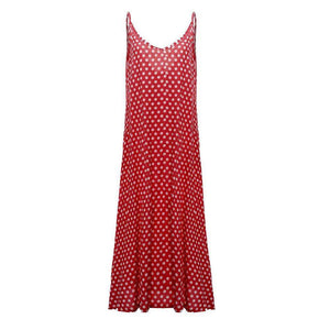 Dotty Maxi Dress,Blissful Chic,Red / XL