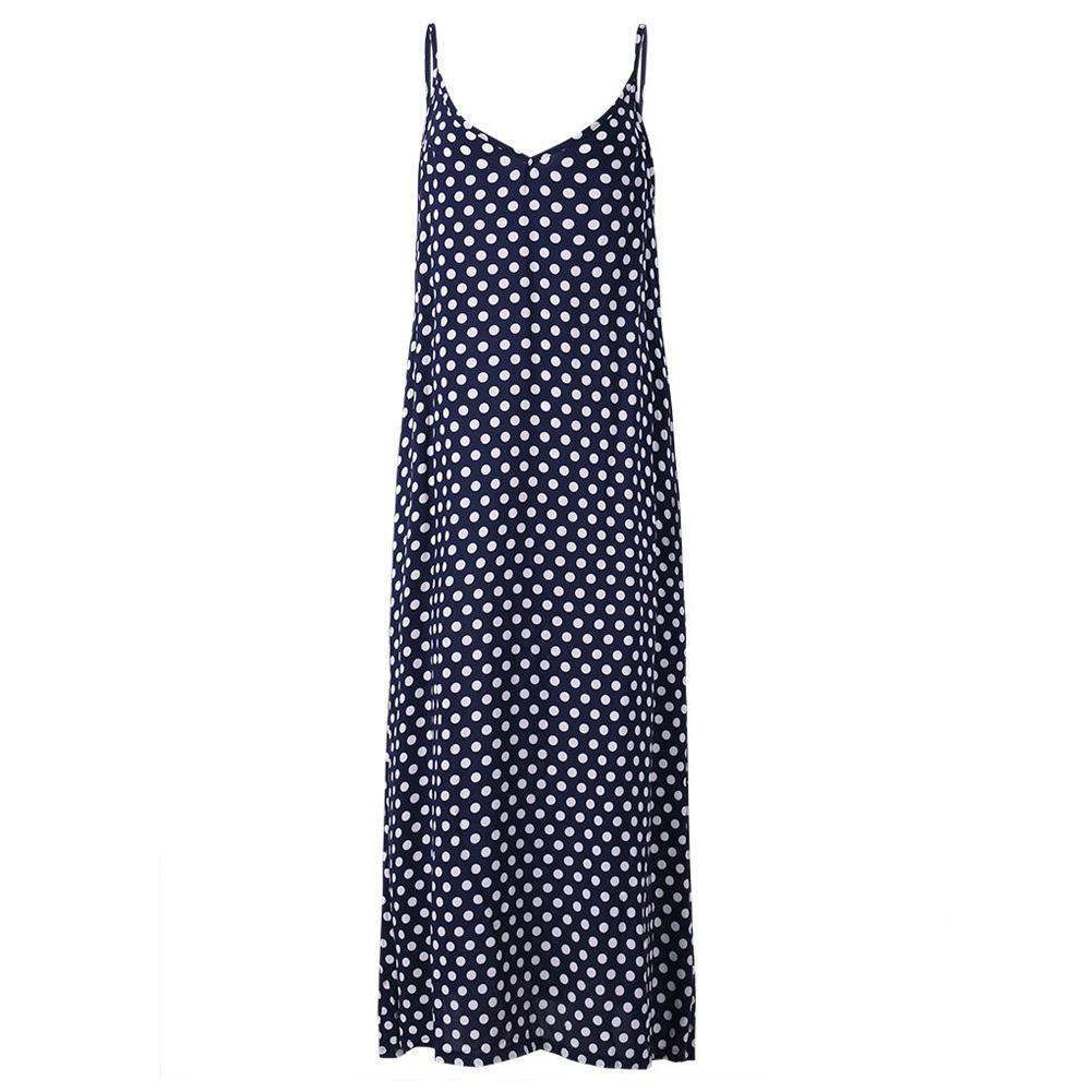 Dotty Maxi Dress,Blissful Chic,Blue / XL