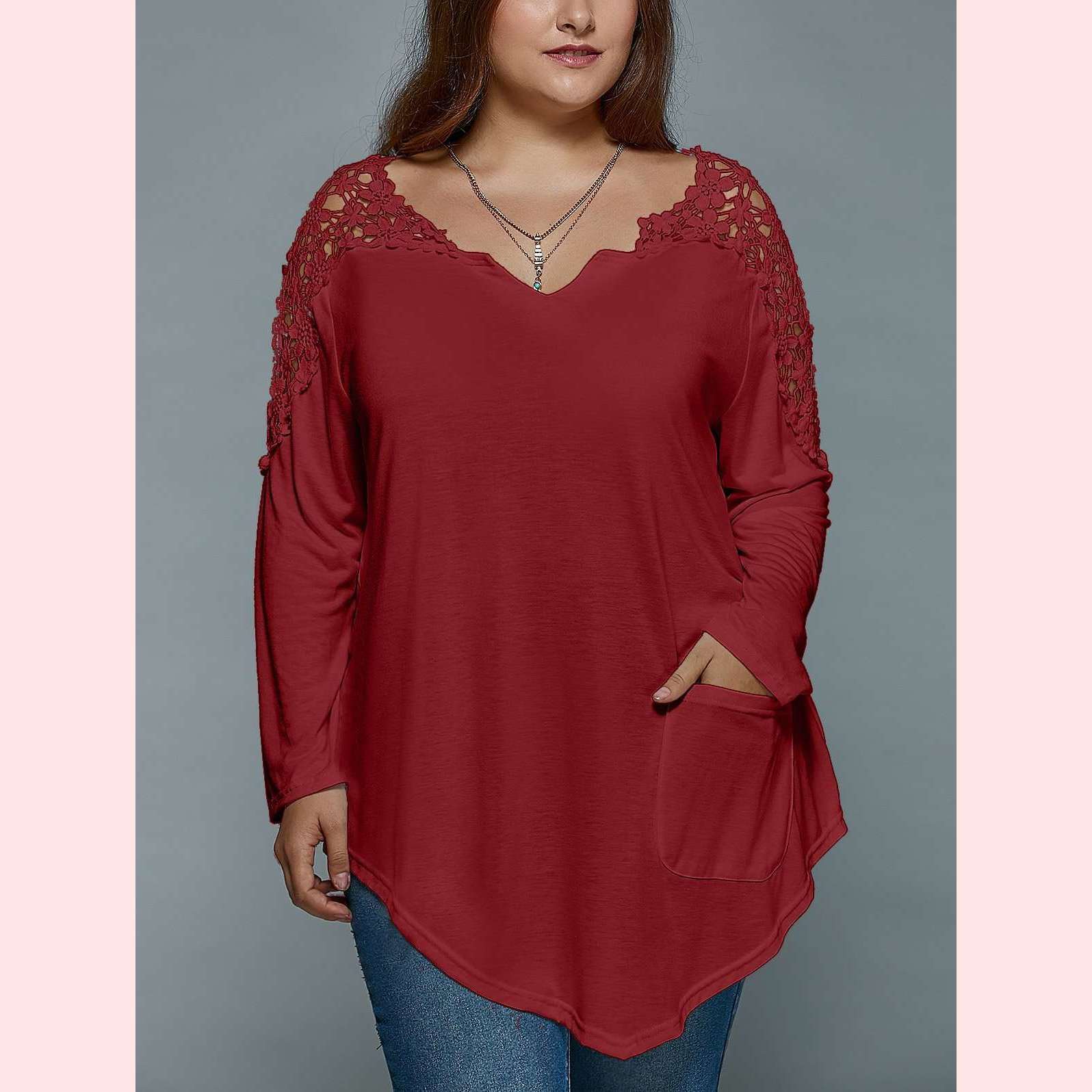 Sweet Daisy Top,Blissful Chic,Wine Red / XL