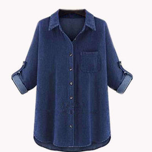 Denim Chambray Top,Blissful Chic,Dark Blue / 3XL