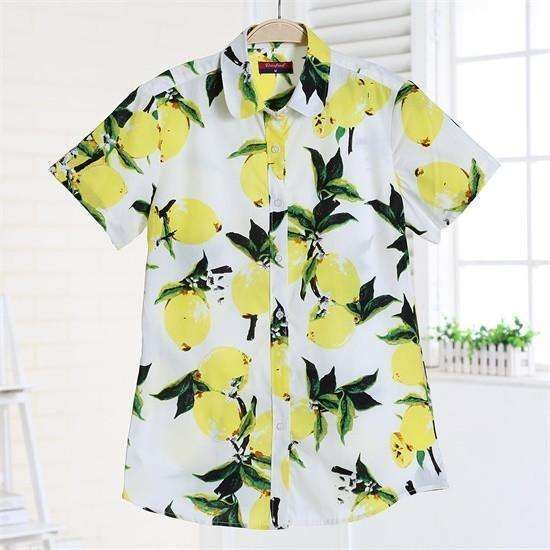 Fruits and Flowers Tops,Blissful Chic,Lemonade / XL