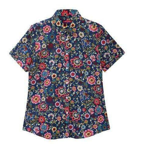 Fruits and Flowers Tops,Blissful Chic,Blue Wildflower / XL