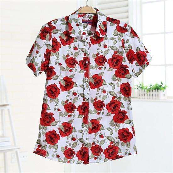 Fruits and Flowers Tops,Blissful Chic,Red Rosie / XL
