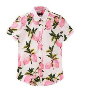 Fruits and Flowers Tops,Blissful Chic,Pink Lemonade / XL