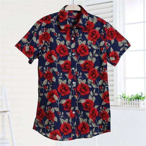 Fruits and Flowers Tops,Blissful Chic,Blue Rosie / XL
