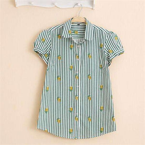 Fruits and Flowers Tops,Blissful Chic,Green with Pineapples / XL