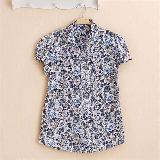 Fruits and Flowers Tops,Blissful Chic,Navy Daisy / XL
