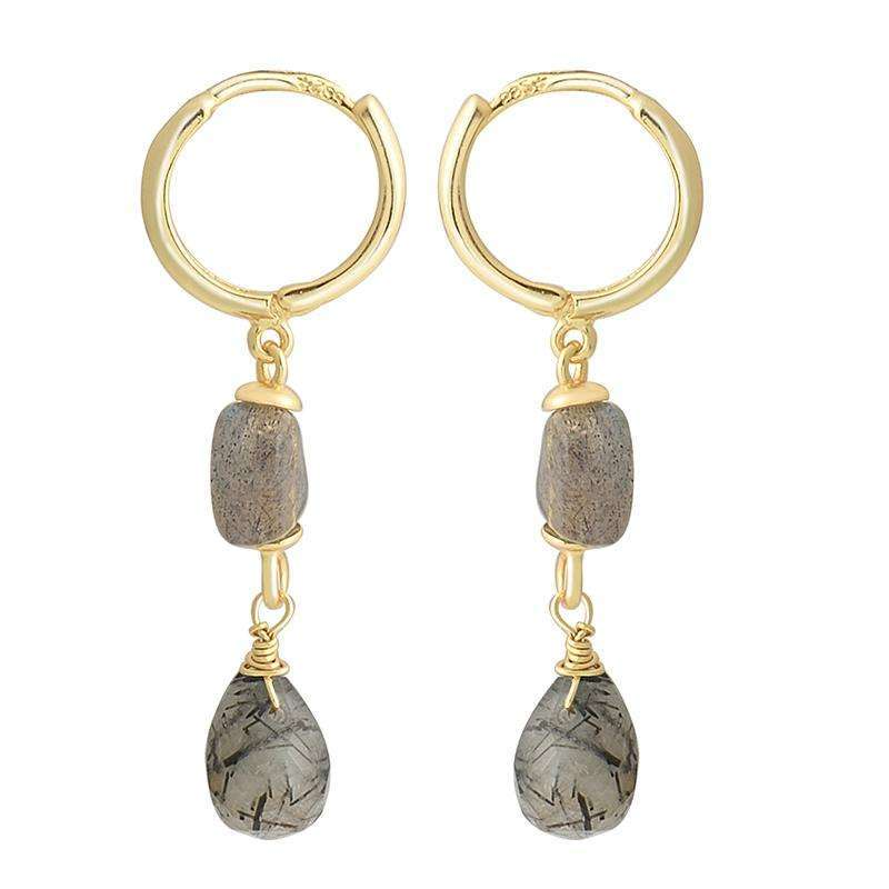 Lucky Stones Drop Earrings,Blissful Chic,Gold