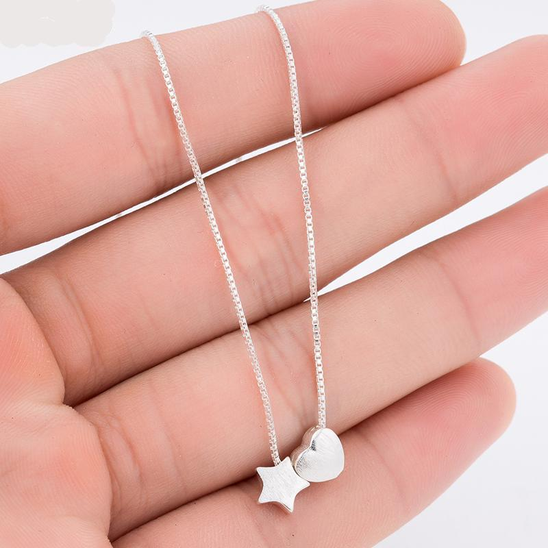 Star and Heart Sterling Silver Necklace
