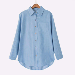Denim Chambray Top,Blissful Chic,Light Blue / 3XL