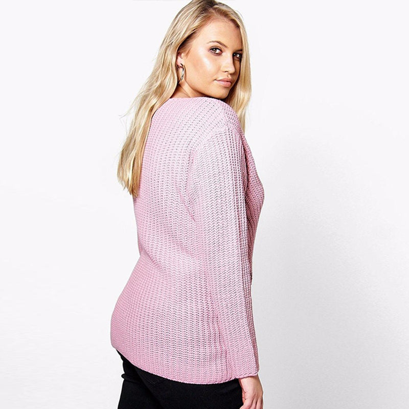 Evie Pink Cross Over Sweater