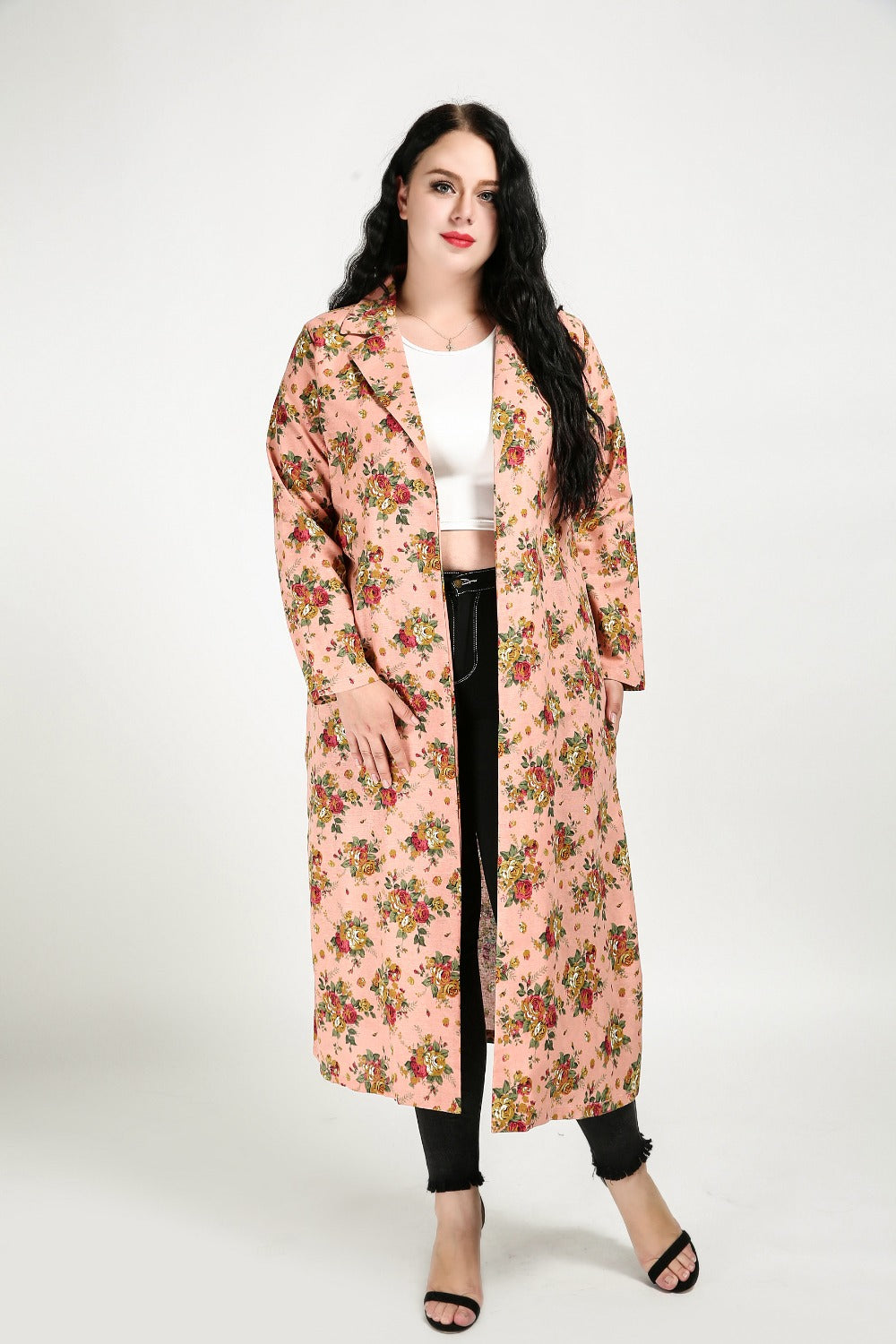 Flower Annie Long Trench Coat