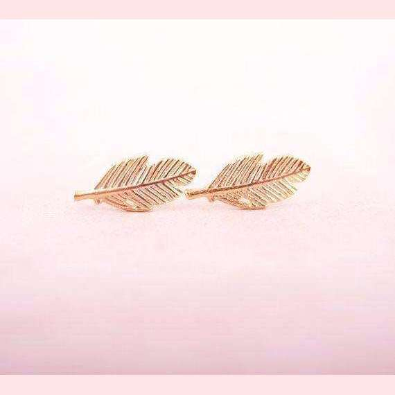 Boho Feather Earrings,Blissful Chic,Rose Gold Color