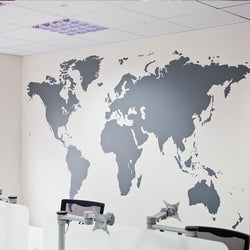 Black Vinyl Decal World Map