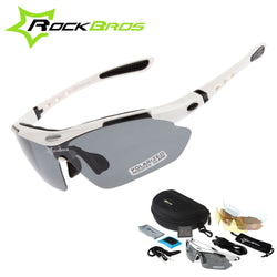 RockBros White Jersey Polarized Cycling Sunglasses (includes 5 different Lenses)