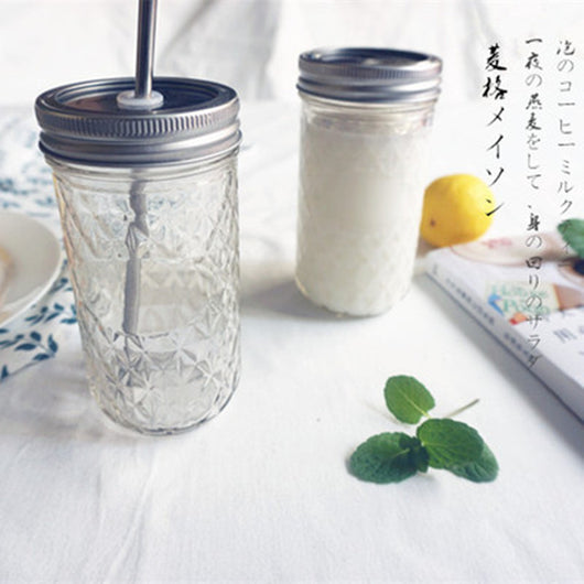 Mason Jar and Lid with Straw Hole