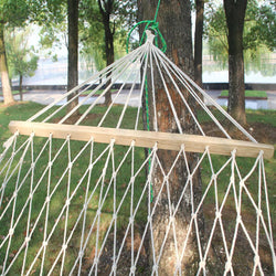 Double Wood Frame and Rope Hammock