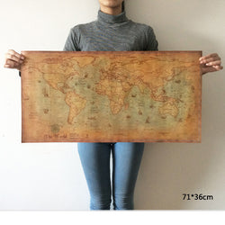Antique Finish World Map