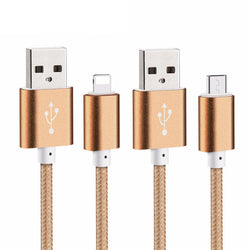 USB Data Charger Cable (with Micro USB (for Droid) or Apple Compact Lightning for iPhone 6 6s Plus 5s 5 iPad mini)