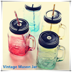Colored Mason Jar with Handle and Black Lid