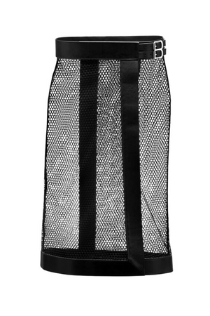 YVY Leather Sleek Mesh Skirt