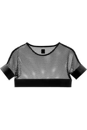 YVY Leather Sleek Mesh Top