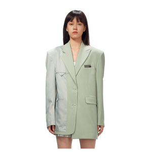 MARRKNULL Asymmetric Inside-out Stitching Oversize Blazer