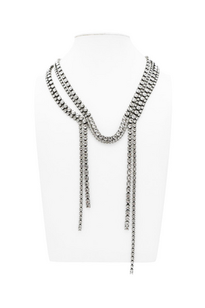 HELENE ZUBELDIA Crystal Waterfall Necklace