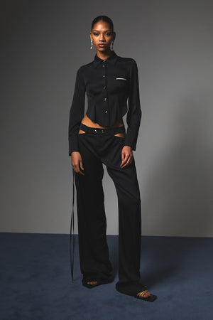 HAN WEN STUDIO Low-Waist Side Gather Trouser Black