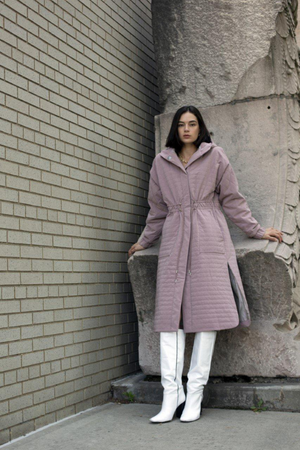 THE GLOSH Padded Long Jacket Indigo Pink