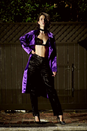 IMAGE DU IMAGE Satin Trench Coat Purple