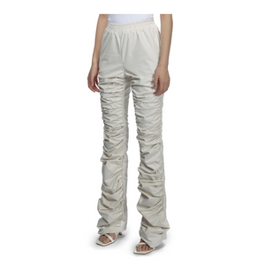 MARRKNULL White Gathered Flared Trousers