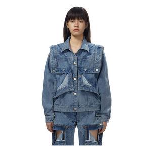 MARRKNULL Triple Hems X-stitching Denim Jacket