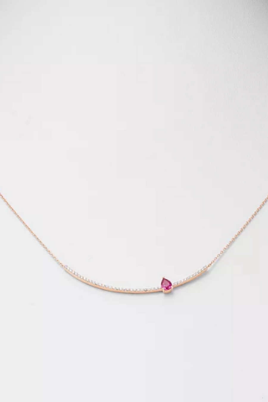 OWN YOUR STORY Pear Ruby Arc Necklace
