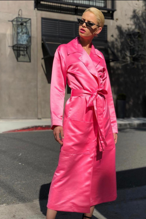 IMAGE DU IMAGE Satin Trench Coat Pink