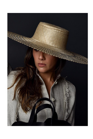 WOMA HATS Silver Straw Hat