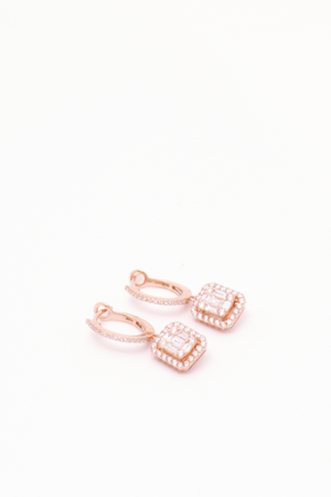 ANEV Square Diamond Dangle Huggies