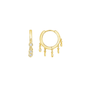 LARSA MARIE Billie Small Diamond Drop Hoop Earrings