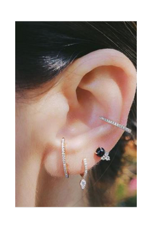 ANEV Single Dia Bar Cuff Pierce Rose Gold