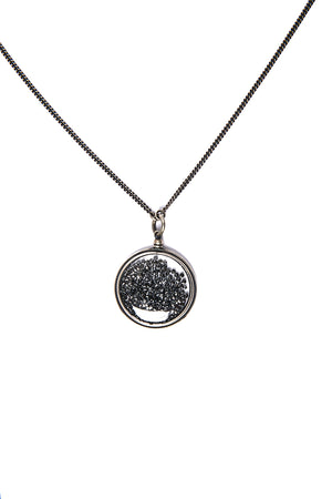 ANN DEMEULEMEESTER Black Diamond Circle Pendant Necklace
