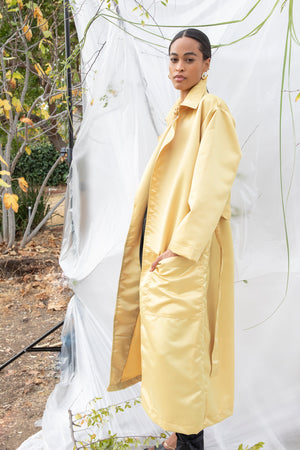 IMAGE DU IMAGE Satin Trench Coat Mustard Gold
