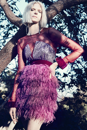 CHRISTIAN PELLIZZARI Long Sleeved Feather Dress