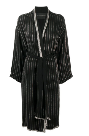 CHRISTIAN PELLIZZARI Embellished Stripe Long Robe