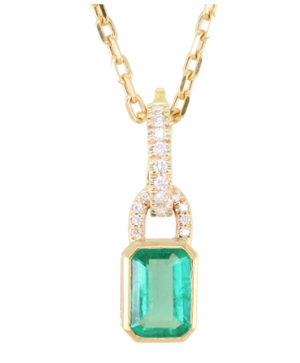 LUNA SKYE Emerald Love Lock Necklace