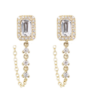 LUNA SKYE Topaz Chain Earrings